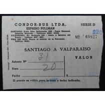 Pasaje Cóndor Bus Santiago A Valparaíso Año 1961