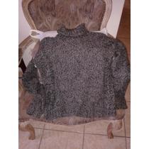 Sweater Chaleco Jaspeado Plomo Con Cuello Tejido A Mano 38