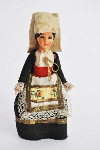 Antigua Figura De Muñeca De Suecia De Goma Coleccionable