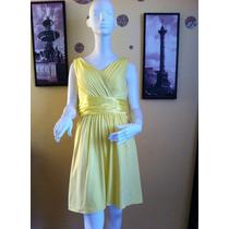 Exclusivo Vestido Fiesta Coctel Amarillo Pretina Satin 44 Ap