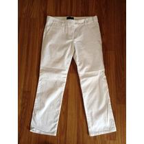 Pantalon Capri Percador Blanco De Tela Zara Woman T/36-38