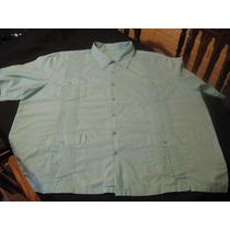 Camisa Guayabera Talla 3xl Manga Corta Color Verde Agua
