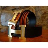Cinturón Hermès Paris Hecho De Cuero Bronceado/negro