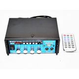 Amplificador 12v/220v Bluetooth Usb Fm Sd Card Karaoke Mp3