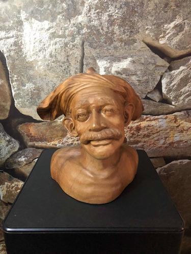Busto Antiguo Europeo De Madera Noble Palo De Rosa