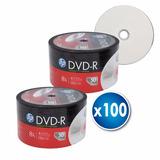 Pack 100 Unidades Dvd-r Hp 4.7gb 8x Imprimible Full Face