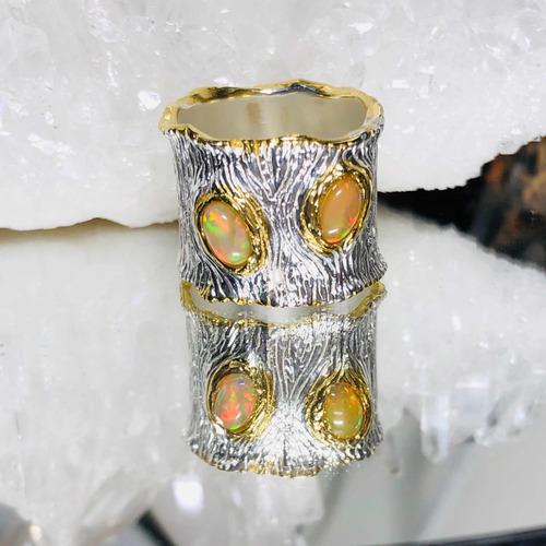 96ae9e65bb00 Anillo Plata Oro Blanco Y Amarillo Ópalo Etíope Natural
