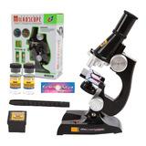 Kit Microscopio Compuesto Con Luz 100x A 450x + Accesorios
