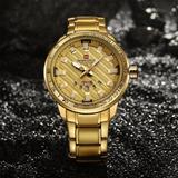 Reloj Naviforce Gold Para Hombre De Lujo Acero Inoxidable