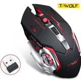 Mouse Gamer Inalámbrico Usb Recargable Led T-wolf