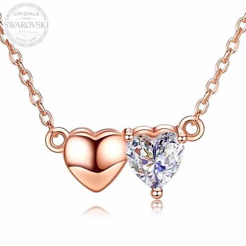 9131bf2656 Joyas Swarovski Collar Bañado En Oro Rosa Corazones Amor