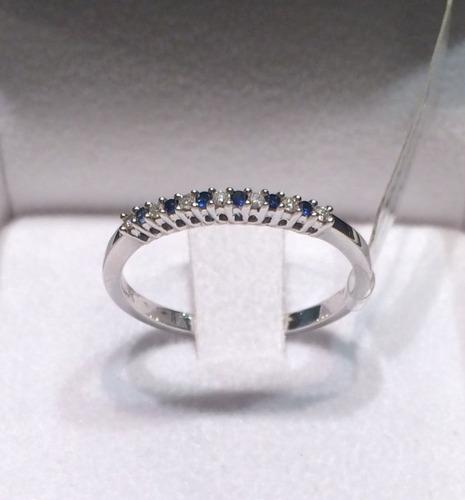 b07cfb055c3b Anillo De Oro Blanco 18 Kt Con Zafiro Azul Y Diamantes