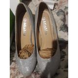 Zapatos Plateados Mujer