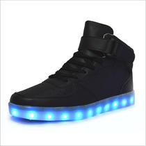 Zapatillas Con Luces Led 7 Colores, Hombre Con Caña Negro