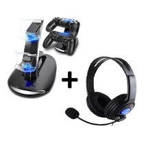 Audifono Ps4 Headset Ps4 + Cargador Mando Ps4 Joystick Ps4