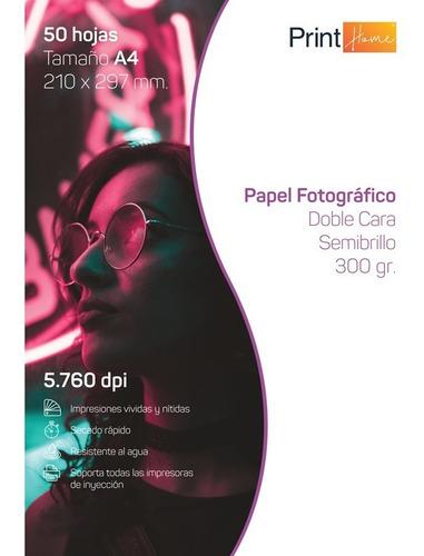 Papel Fotográfico Semi Glossy Doble Cara A4 300gr X 50 Hojas