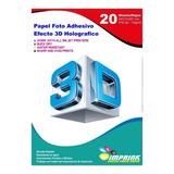Papel Foto Adhesivo Efecto 3d Holografico A4/130g/20 Hojas