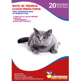 Papel Foto Premium Rc Luster A4/260g/20 Hojas