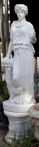 Bella E Impresionante Escultura  Màrmol  180 Cms  + Base 60