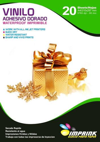 Vinilo Adhesivo Dorado A4/20hojas ....envio Gratis X 3 Un!