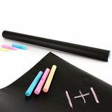 Pizarra Stiker Negra Adhesiva + Tizas 2mt / R4326