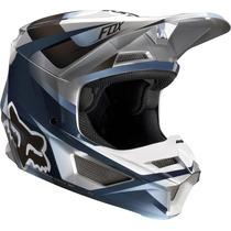 Casco Moto V1 Motif Azul/gris Fox