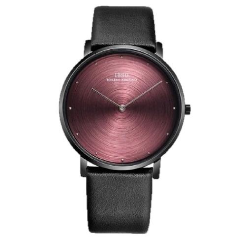 b50751127530 Reloj Ibso Red Black Ultra Fino Cuero Genuino Hombres 2019