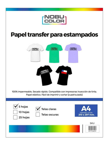 Papel Transfer - Telas Claras A4 - 5 Hojas - Nobucolor