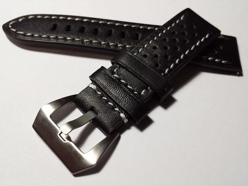 fd90fc801e4f Correa Pulsera Reloj Cuero Perforado Negro 20mm