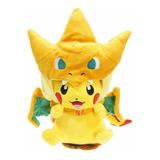 Peluche Pikachu Gorra Mega Charizar Pokemon