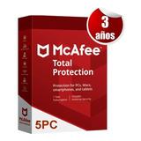 Mcafee 2020 Total Protection 3 Años 5 Pc Tecnoarte