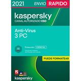 Kaspersky Anti-virus 3 Pc 1 Año 2020 + Regalo