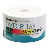 Pack 100 Unidades Dvd-r Virgen Master-g Imprimibles 16x