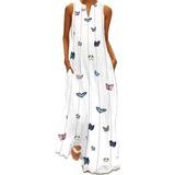 Vestido Largo Para Mujer, Cuello En V, Plisado, Bolsillo, Bb