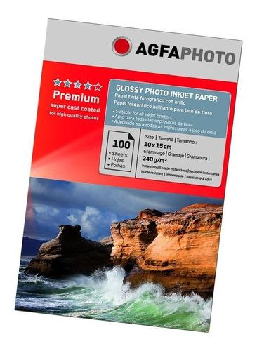 Papel Glossy Agfa Photo Papel Premium 10x15 240gr 100 Hojas