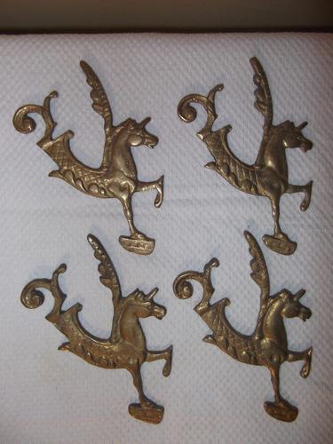 Jgo. De 4 Molduras Bronce, Fig. De Unicornio.