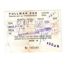 Boleto 1984, Pullman Bus - Bus Micro Boleto