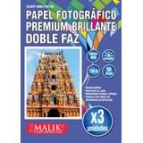 Pack 3 Papel Glossy Brillante Doble Faz A4 De 130gr 50 Hojas