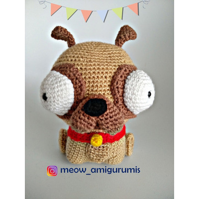 Sleepy-eyed pug amigurumi pattern - Amigurumipatterns.net   400x400