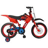 Bicicleta Lahsen Motobike Spiderman Aro 16 Niño Color Rojo