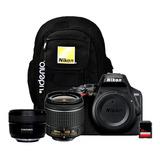 Cámara Nikon D3500 + Lente 18-55mm + 50mm Yongnuo + Sd 32gb
