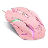 Mouse Gamer De Unicornio Con Cable 2400 Dpi Led 6 Botones