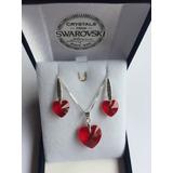 Joyas Conjunto Swarovski Elements Corazón Rojo San Valentin