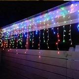 Luces Cascada Solar 100 Led Multicolor 2 Metros Hada Navidad