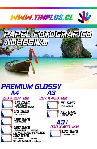 Papel Adhesivo Fotografico Glossy A4 50 Hoja Premium Tinplus