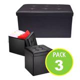 Pack 3 Puff Baul Organizador Diseño Negro 712-02/ Fernapet