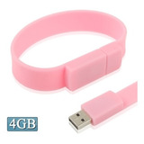 Flash Usb 4gb Silicon Bracelets 2.0 Disk Rosa