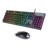 Combo Teclado Mouse Alámbrico Gamer Membrana Km300f