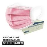 Mascarillas Desechable 3 Pliegues Rosadas.50 Unidades Caja