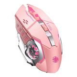 Mouse Gamer Rosado Inalambrico Recargable Lion X2 6 Botones